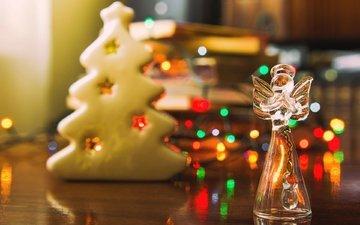 новый год, ангел, рождество, огоньки, гирлянда, печенье, фигурка