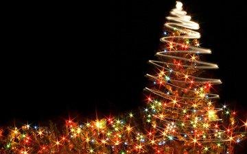 новый год, елка, черный фон, рождество, огоньки, гирлянда