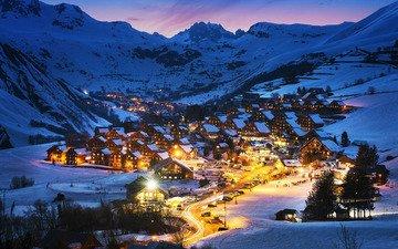 ночь, огни, горы, природа, зима, пейзаж, панорама, город, дома, курорт, франция, альпы, гостиница, сен-жан-д'арв
