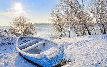 деревья, река, снег, природа, зима, пейзаж, лодка, следы