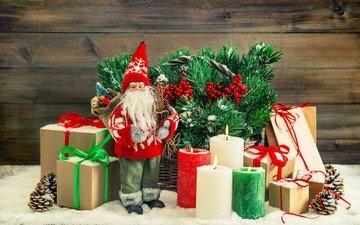 свечи, новый год, подарки, дед мороз, рождество, шишки