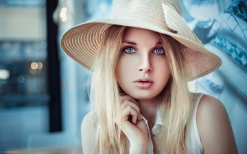 girl, blonde, portrait, look, hair, face, blue eyes, hat, photoshoot