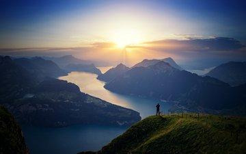 озеро, река, горы, солнце, природа, закат, пейзаж, швейцария, фьорд, озеро люцерн