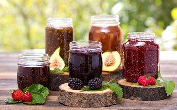 малина, фрукты, клубника, ягоды, персик, ежевика, банки, груша, варенье, джемы