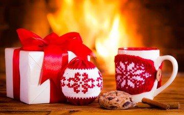 новый год, корица, кружка, камин, подарок, рождество, печенье