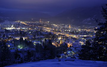 огни, зима, панорама, город, германия, альпы, бавария, гармиш-партенкирхен