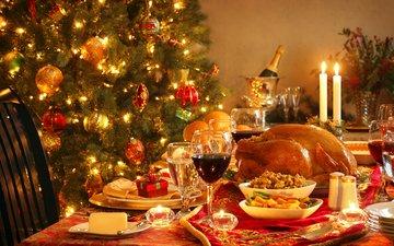 новый год, елка, вино, рождество, шампанское, курица, закуски, индейка, новогодний стол, угощения