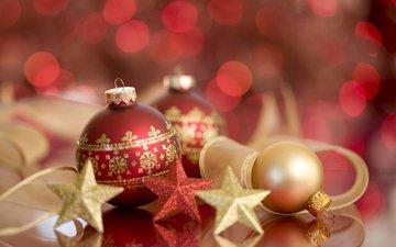 новый год, шары, звезды, рождество, елочные игрушки