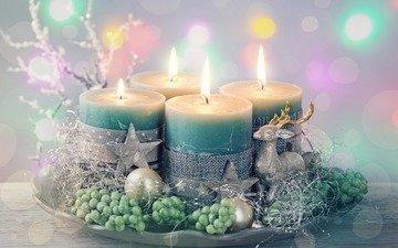 свечи, новый год, украшения, звезды, шарики, олени, рождество, декор