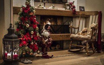 новый год, елка, украшения, фонарь, игрушки, камин, рождество, кресло-качалка