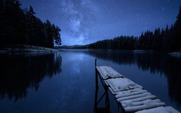 ночь, озеро, снег, мостик, зима, пейзаж, звезды, rashkovski