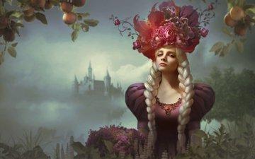 цветы, арт, девушка, фон, замок, яблоки, взгляд, фэнтези, фея, косы, мифология