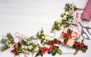 новый год, елка, ветки, подарки, рождество, гирлянда