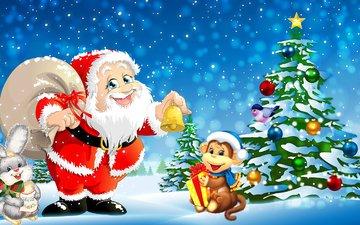 новый год, елка, дед мороз, рождество, обезьяна, зайчик