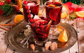 новый год, корица, фрукты, апельсины, напитки, рождество, специи, глинтвейн