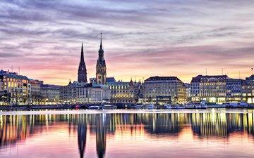 отражение, город, германия, гамбург