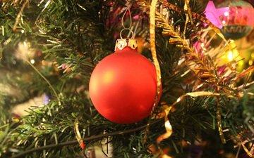 новый год, елка, украшения, шар, рождество, мишура, декор