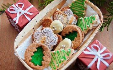 подарки, рождество, сладкое, печенье, выпечка, глазурь, угощения