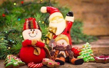 новый год, елка, украшения, снеговик, дед мороз, рождество, снеговики, елочные игрушки, гирлянда, печенье