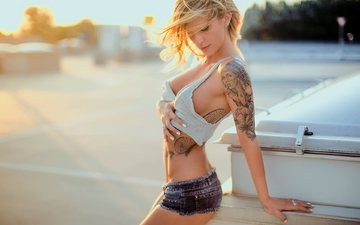 girl, blonde, model, tattoo, closed eyes