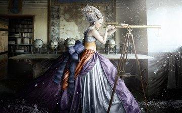 снег, девушка, платье, комната, креатив, подзорная труба, телескоп, alexia sinclair, глобусы