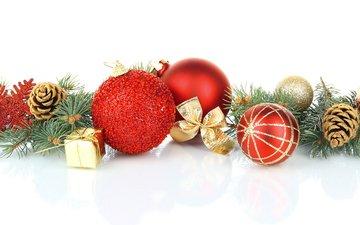 новый год, шары, украшения, хвоя, рождество, шишки, елочные игрушки