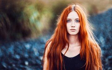 девушка, портрет, взгляд, рыжая, волосы, лицо, sam portraits by sam