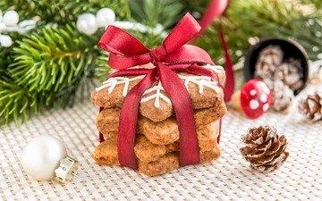 хвоя, ветки, рождество, шишки, печенье, выпечка
