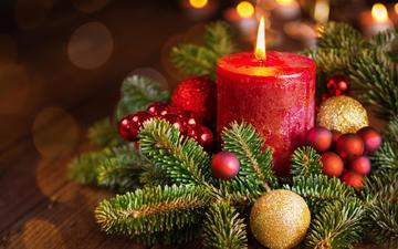 новый год, елка, свеча, рождество, елочные игрушки