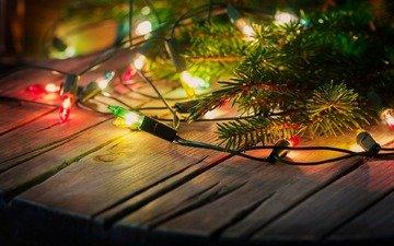 новый год, елка, рождество, гирлянда