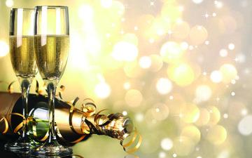 новый год, бокалы, рождество, шампанское