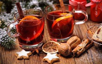 новый год, орехи, напиток, корица, лимон, апельсин, рождество, печенье, глинтвейн, alexander raths