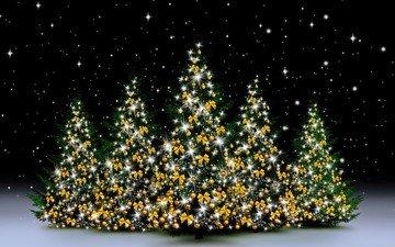 снег, новый год, зима, елки, гирлянды, рождество