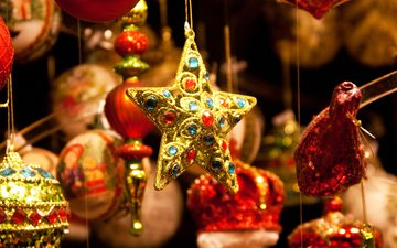 новый год, звезда, рождество, елочные игрушки