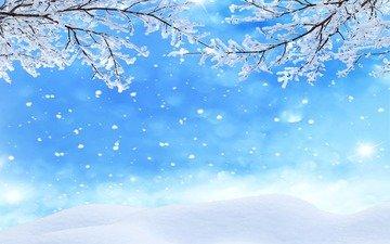 schnee, winter, makro, am