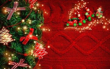 новый год, елка, рождество, паровозик, гирлянда, декор