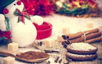 новый год, корица, снеговик, рождество, сахар, печенье, выпечка, какао, гвоздика