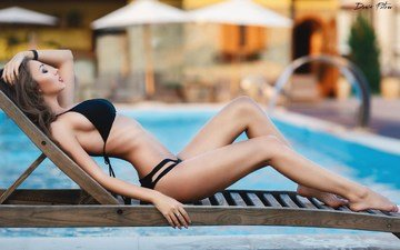 girl, model, pool, legs, bikini, photoshoot, closed eyes