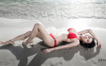 sea, pose, sand, beach, hair, swimsuit, asian, bikini, lying