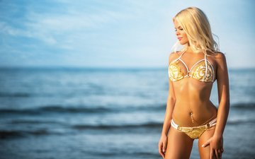 girl, sea, blonde, model, chest, legs, body, piercing, bikini, belly, anastasia tretyakova