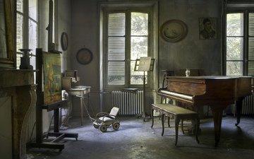 интерьер, винтаж, ретро, музыка, комната, рояль