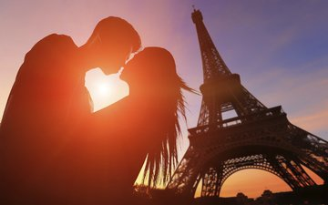 девушка, париж, любовь, романтика, пара, мужчина, поцелуй, эйфелева башня, влюбленные