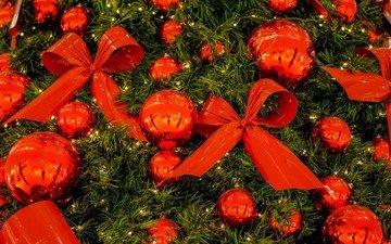 новый год, елка, шары, украшения, лента, рождество, елочные игрушки, банты