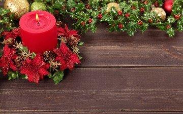 новый год, шары, украшения, свеча, рождество, венок, остролист