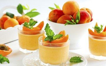 мята, фрукты, сладкое, десерт, абрикосы, панна-котта, lesyy