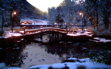 деревья, фонари, река, природа, мостик, лес, зима