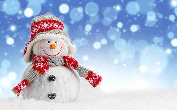 снег, зима, снеговик, шапка, фигурка, шарф