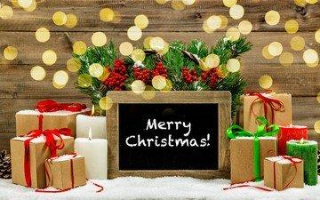 снег, свечи, новый год, украшения, подарки, рождество