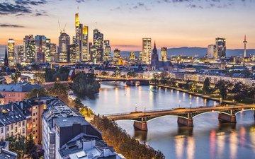 огни, мост, город, германия, франкфурт-на-майне