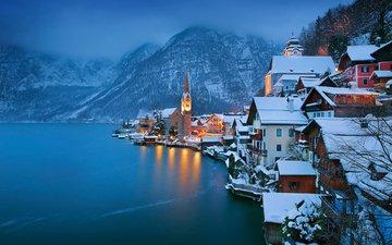lake, mountains, winter, the city, austria, hallstadt